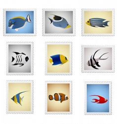stamp fish series vector image vector image