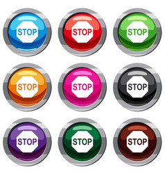 stop sign set 9 collection vector image vector image