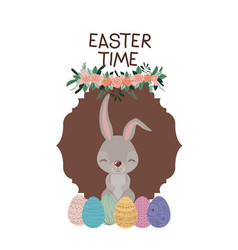 easter time frame with bunny and easter eggs and vector image