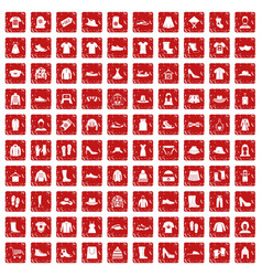 100 rags icons set grunge red vector