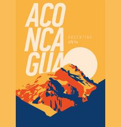 Aconcagua in andes argentina outdoor adventure vector