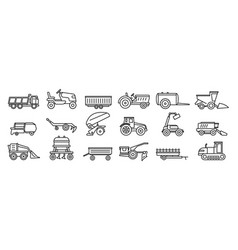 Agricultural machines equipment icons set outline vector