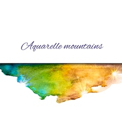 Aquarelle mountains blue yellow vector