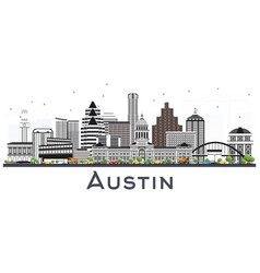 Austin texas city skyline with gray buildings vector