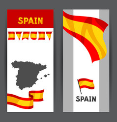 Banners with flag and map of spain vector