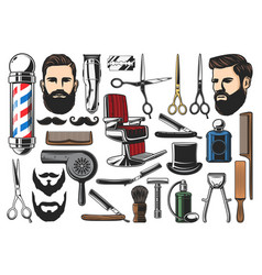Barbershop haircut and shave tools vector
