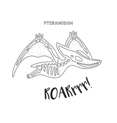 Black and white line art with dinosaur skeleton vector