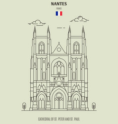 cathedral of st peter and st paul in nantes vector image