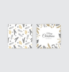 Christmas frame with winter plants botanical vector