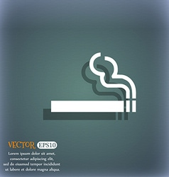 Cigarette smoke icon symbol on the blue-green vector