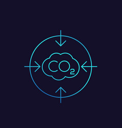 Co2 carbon emissions reduction linear icon vector