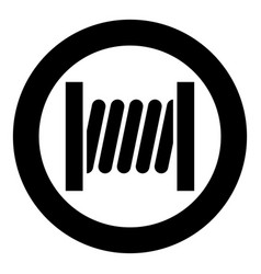 Coil with wire icon black color in circle round vector