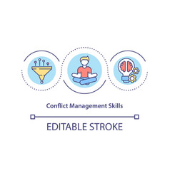 Conflict management skills concept icon vector