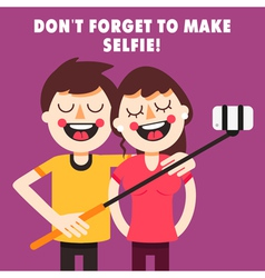 Couple taking selfie vector
