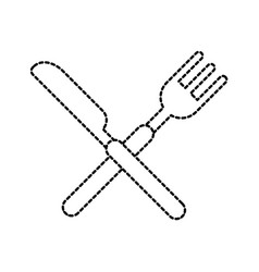 crossed fork and knife cutlery silverware kitchen vector image