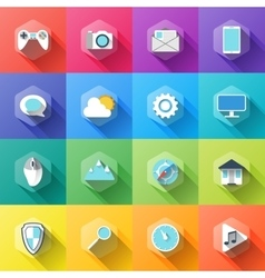 Different icons in flat style with soft long vector