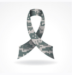 Digital camo military support ribbon vector