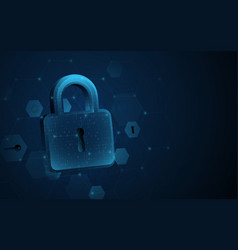 digital padlock with data protection privacy vector image