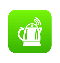 electric kettle icon green vector image