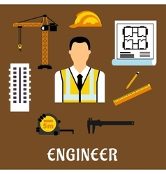 Engineer and construction flat icons vector image vector image