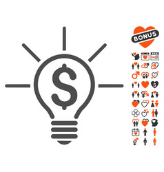 financial idea bulb icon with dating bonus vector image