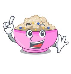 Finger cooked whole porridge oats in cartoon pan vector