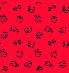 Fitness pattern seamless red background vector