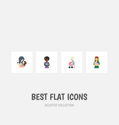 Flat icon mother set of mother newborn baby vector