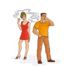 Flat woman smoking man pinches nose vector