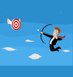 Flying businessman shooting arrow at target vector