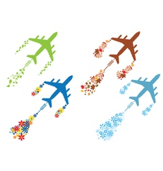 Four seasons and airoplane vector