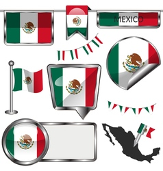 Glossy icons with Mexican flag vector