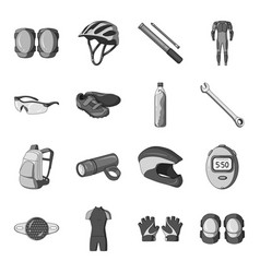 Gloves suit helmet sneakers and other equipment vector