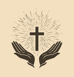 glowing cross with hands symbol church logo vector image