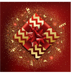 gold gift boxes and confetti on red background vector image