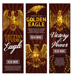 golden eagle tattoo studio banners vector image