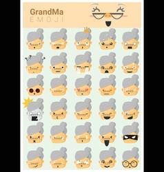 Grandma imoji icons vector
