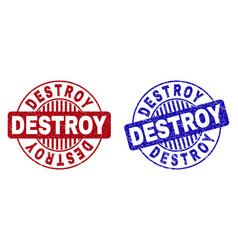 Grunge destroy scratched round watermarks vector