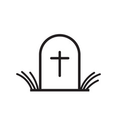 Halloween grave icon in line style gravestone vector