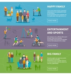 Happy Family Flat Banners vector