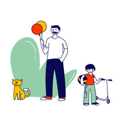 happy family little cheerful boy walking with vector image