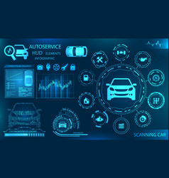 hardware diagnostics condition of car scanning vector image