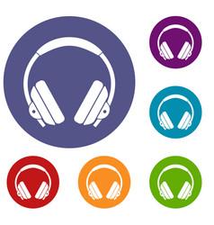 Headphone icons set vector