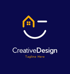home smiling funny property creative business logo vector image