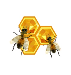 Honeycomb design with origami bees vector