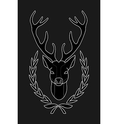 Hunting trophy Deer head in laurel wreath Black vector image