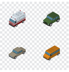 Isometric automobile set of auto autobus armored vector
