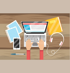 Laptop technology with elearning education and vector