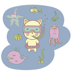 lovely hand-drawn kitten the diver vector image