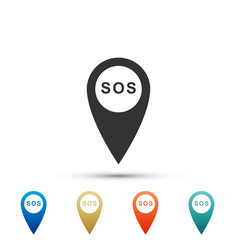 marker location with sos icon isolated vector image